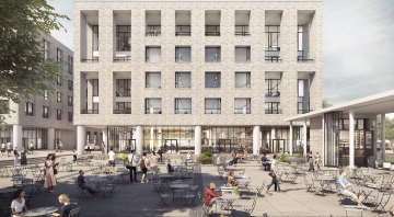 CGI of five-storey office building on public square with cafe tables
