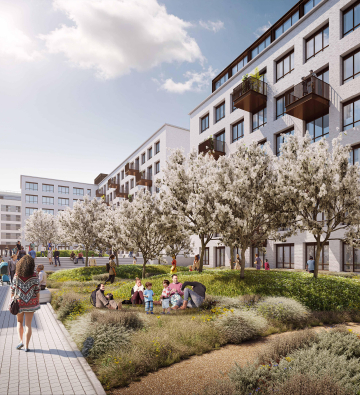 CGI of apartment blocks with planting in foreground