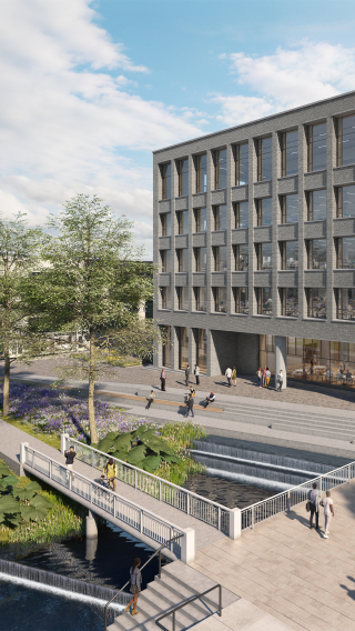 CGI of five-storey office building on public square