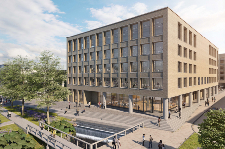 CGI of office block five floors high, with public square in front