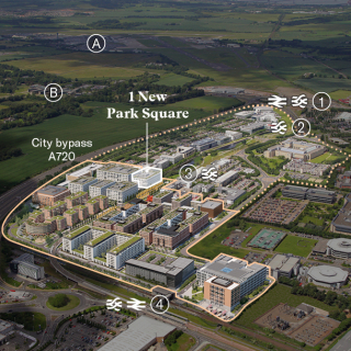 Aerial map of Edinburgh Park showing transport connections